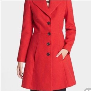 Robbi & Nikki red pea coat